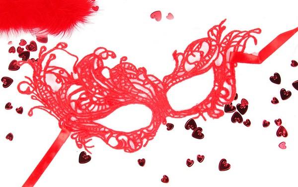 """МАСКА АЖУРНАЯ """"МАРГО"""" цвет красный, текстиль арт. EE-20352-3"""
