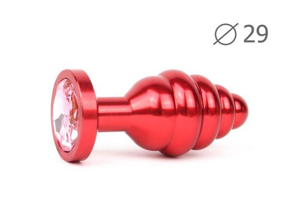 """ВТУЛКА АНАЛЬНАЯ """"RED PLUG SMALL"""" (красная), L 71 мм D 29 мм, вес 60г, цвет кристалла розовый арт. AR-02-S"""