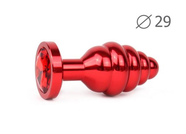 """ВТУЛКА АНАЛЬНАЯ """"RED PLUG SMALL"""" (красная), L 71 мм D 29 мм, вес 60г, цвет кристалла красный арт. AR-16-S"""