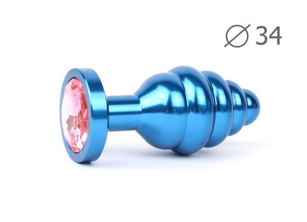 "ВТУЛКА АНАЛЬНАЯ ""BLUE PLUG MEDIUM"" (синяя), L 80 мм D 34 мм, вес 90г, цвет кристалла розовый арт. ABL-02-M"