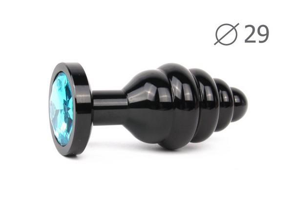 """ВТУЛКА АНАЛЬНАЯ """"BLACK PLUG SMALL"""" (чёрная), L 71 мм D 29 мм, вес 60г, цвет кристалла голубой арт. ABCK-05-S"""