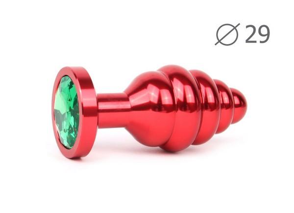 """ВТУЛКА АНАЛЬНАЯ """"RED PLUG SMALL"""" (красная), L 71 мм D 29 мм, вес 60г, цвет кристалла зелёный арт. AR-07-S"""