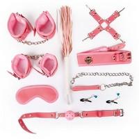 НАБОР (наручники, оковы, ошейник с поводком, кляп, маска, плеть, фиксатор, зажимы для сосков) арт. NTB-80489