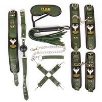 НАБОР (наручники, оковы, ошейник с поводком, кляп, маска, плеть, фиксатор) арт. NTB-80481