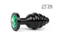"""ВТУЛКА АНАЛЬНАЯ """"BLACK PLUG SMALL"""" (чёрная), L 71 мм D 29 мм, вес 60г, цвет кристалла зелёный арт. ABCK-07-S"""