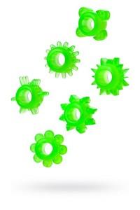 НАБОР КОЛЕЦ НА ПЕНИС 6 штук, цвет зеленый, арт. 888200-10