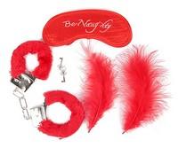 КОМПЛЕКТ (наручники, маска, перо) цвет красный, металл, текстиль арт. NTB-80333