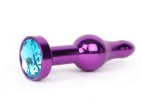ФИОЛЕТОВАЯ АНАЛЬНАЯ ВТУЛКА, L 103 мм D 28 мм, вес 80г, цвет кристалла голубой арт. ZVLT-05