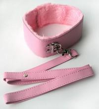 ОШЕЙНИК С ПОВОДКОМ цвет розовый, (PVC, текстиль) арт. MLF-90093-6