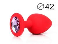 ВТУЛКА АНАЛЬНАЯ, L 95 мм D 42 мм, красная, цвет кристалла светло-фиолетовый, силикон, арт. SF-70602-15