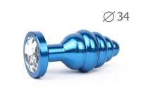 """ВТУЛКА АНАЛЬНАЯ """"BLUE PLUG MEDIUM"""" (синяя), L 80 мм D 34 мм, вес 90г, цвет кристалла бесцветный арт. ABL-01-M"""
