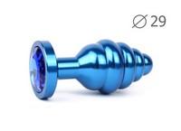 """ВТУЛКА АНАЛЬНАЯ """"BLUE PLUG SMALL"""" (синяя), L 71 мм D 29 мм, вес 60г, цвет кристалла синий арт. ABL-13-S"""