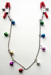 ЗАЖИМЫ ДЛЯ СОСКОВ с цепочкой 9 шариков, цвет в ассортименте, (металл) арт. MLF-90009
